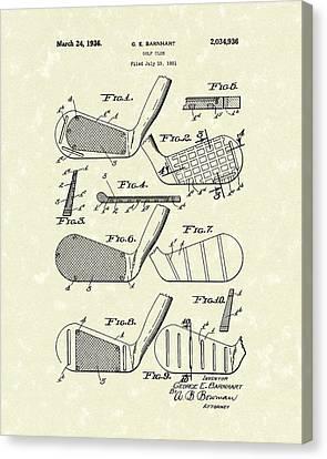 Golf Club 1936 Patent Art Canvas Print by Prior Art Design