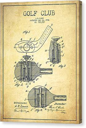 Golf Clubs Patent Drawing From 1904 - Vintage Canvas Print by Aged Pixel