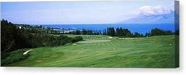 Golf Course At The Oceanside, Kapalua Canvas Print by Panoramic Images