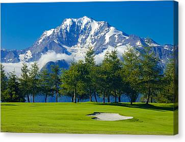 Golf Course In The Mountains - Riederalp Swiss Alps Switzerland Canvas Print by Matthias Hauser