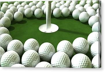 Golf Hole Assault Canvas Print by Allan Swart