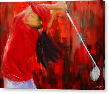 Golf Swing Canvas Print by Lourry Legarde