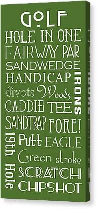 Golf Terms Canvas Print by Jaime Friedman