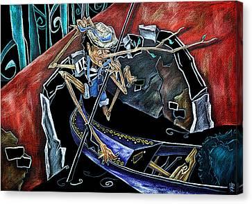 Gondola Travel Venice Italy - Viaggi E Avventure Di Pinocchio Gondoliere In Italia Canvas Print by Arte Venezia