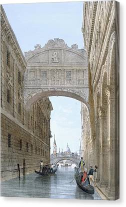 Gondolas Passing Under The Bridge Canvas Print by Giovanni Battista Cecchini