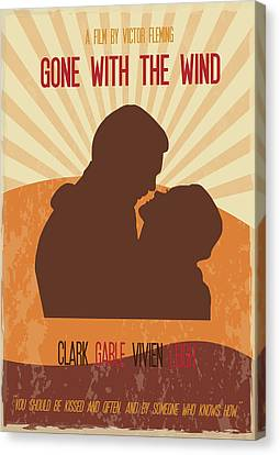 Gone With The Wind Poster Art Canvas Print by Florian Rodarte