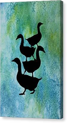 Goose Pile On Aqua Canvas Print by Jenny Armitage