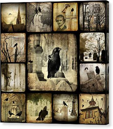 Gothic And Crows Canvas Print by Gothicolors Donna Snyder