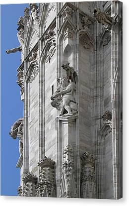 Gothic Cathedral Lion Statue And Gargoyles Canvas Print by Leone M Jennarelli