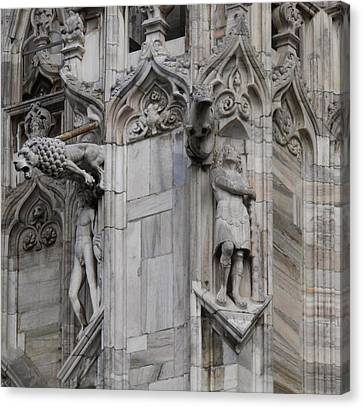 Milan Gothic Cathedral Statues And Lion Gargoyle Canvas Print by Leone M Jennarelli