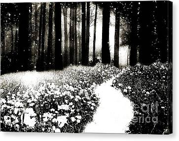 Gothic Dark Black White Surreal Woodlands Path Canvas Print by Kathy Fornal