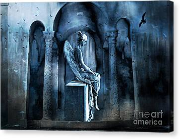 Gothic Surreal Angel In Mourning With Ravens Canvas Print by Kathy Fornal
