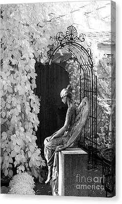 Gothic Surreal Black And White Infrared Angel Statue Sitting In Mourning Sadness Outside Mausoleum  Canvas Print by Kathy Fornal