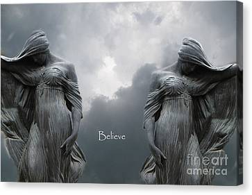 Gothic Surreal Female Figures Haunting Inspirational Spiritual Art - Believe Canvas Print by Kathy Fornal