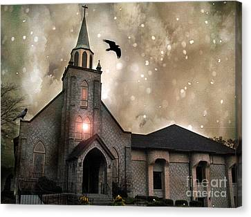 Gothic Surreal Haunted Church And Steeple With Crows And Ravens Flying  Canvas Print by Kathy Fornal