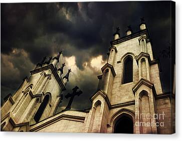 Gothic Surreal Haunting Church Steeple With Cross - Dark Gothic Church Black Spooky Midnight Sky Canvas Print by Kathy Fornal