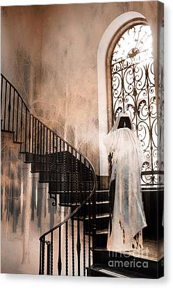 Gothic Surreal Spooky Grim Reaper On Steps Canvas Print by Kathy Fornal
