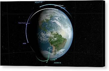 Gpm Satellite Constellation Canvas Print by Nasa/goddard Space Flight Center Svs