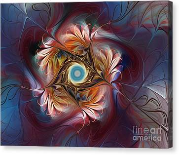 Grace And Elegance-floral Fractal Design Canvas Print by Karin Kuhlmann