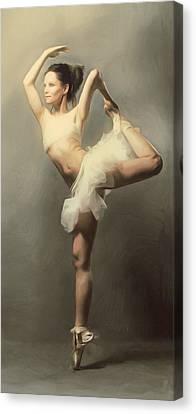 Graceful En Pointe Ballerina Canvas Print by Georgiana Romanovna