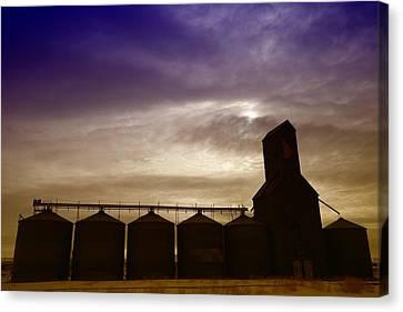 Grain Bins In Reserve Montana Canvas Print by Jeff Swan