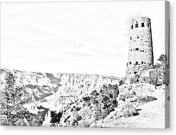 Grand Canyon National Park Mary Colter Designed Desert View Watchtower Black And White Line Art Canvas Print by Shawn O'Brien