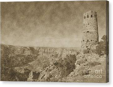 Grand Canyon National Park Mary Colter Designed Desert View Watchtower Vintage Canvas Print by Shawn O'Brien