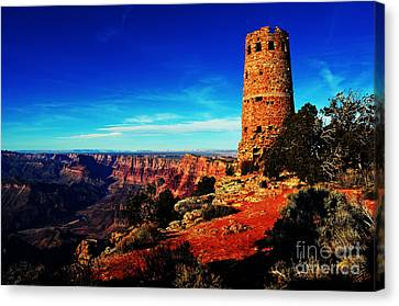 Grand Canyon National Park South Rim Mary Colter Designed Desert View Watchtower Vivid Canvas Print by Shawn O'Brien