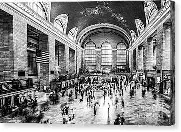 Grand Central Station -pano Bw Canvas Print by Hannes Cmarits