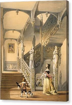 Grand Elizabethan Staircase Canvas Print by Joseph Nash
