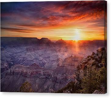 Grand Morning At The Canyon Canvas Print by Andrew Soundarajan