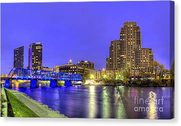 Grand Rapids At Dusk Canvas Print by Twenty Two North Photography
