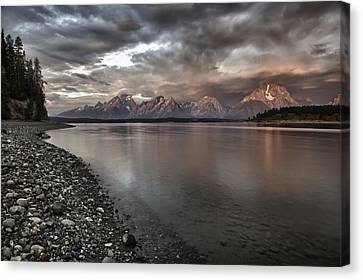 Grand Teton Mountain Range In  Grey And Pink Morning Sunlight Canvas Print by Jo Ann Tomaselli