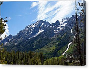 Grand Tetons And Clouds Canvas Print by Michael Kirsh