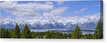 Grand Tetons Over Jackson Lake Panorama 2 Canvas Print by Brian Harig