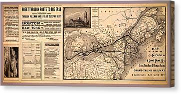 Grand Trunk Railway Map 1887 Canvas Print by Mountain Dreams