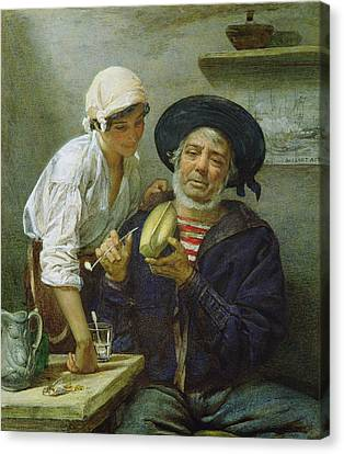 Grandads Mate Oil On Canvas Canvas Print by Lawrence Duncan