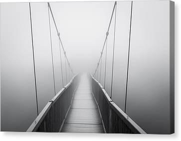 Grandfather Mountain Heavy Fog - Bridge To Nowhere Canvas Print by Dave Allen