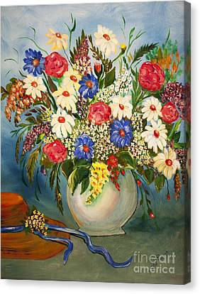 Grandma's Hat And Bouquet Canvas Print by Janice Rae Pariza