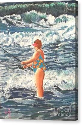 Granny Surf Fishing Canvas Print by Frank Giordano