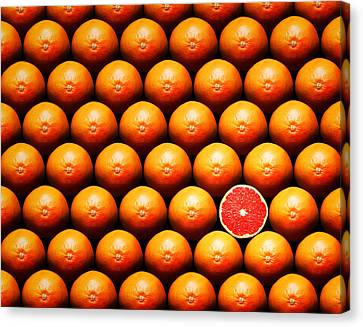 Grapefruit Slice Between Group Canvas Print by Johan Swanepoel