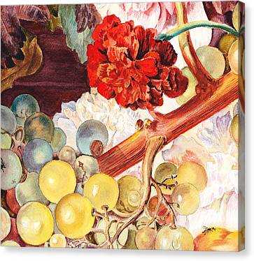 Grapes And Flowers From The Old Master Canvas Print by Irina Sztukowski
