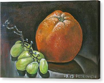 Grapes And Grapefruit Canvas Print by Petrovich
