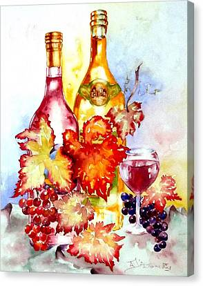 Grapes And Wine Canvas Print by Anne Dalton