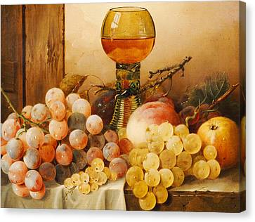 Grapes Apples Plums And A Peach With Hock Glass On Draped Ledge Canvas Print by Edward Ladell