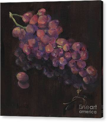 Grapes In Reflection Canvas Print by Maria Hunt