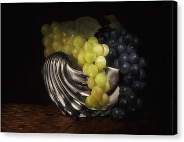 Grapes In Silver Seashell Still Life Canvas Print by Tom Mc Nemar