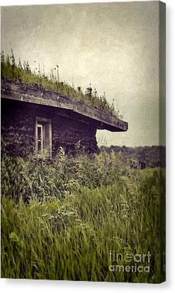 Grass Roof On Cottage Canvas Print by Jill Battaglia