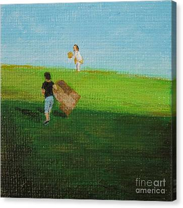 Grass Sledding  Canvas Print by Amber Woodrum