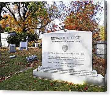 Grave Of Nyc Mayor Ed Koch Canvas Print by Sarah Loft